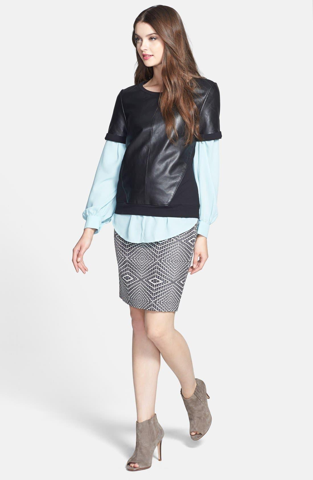 Alternate Image 4  - Halogen® Leather & Knit Mixed Media Top (Regular & Petite)