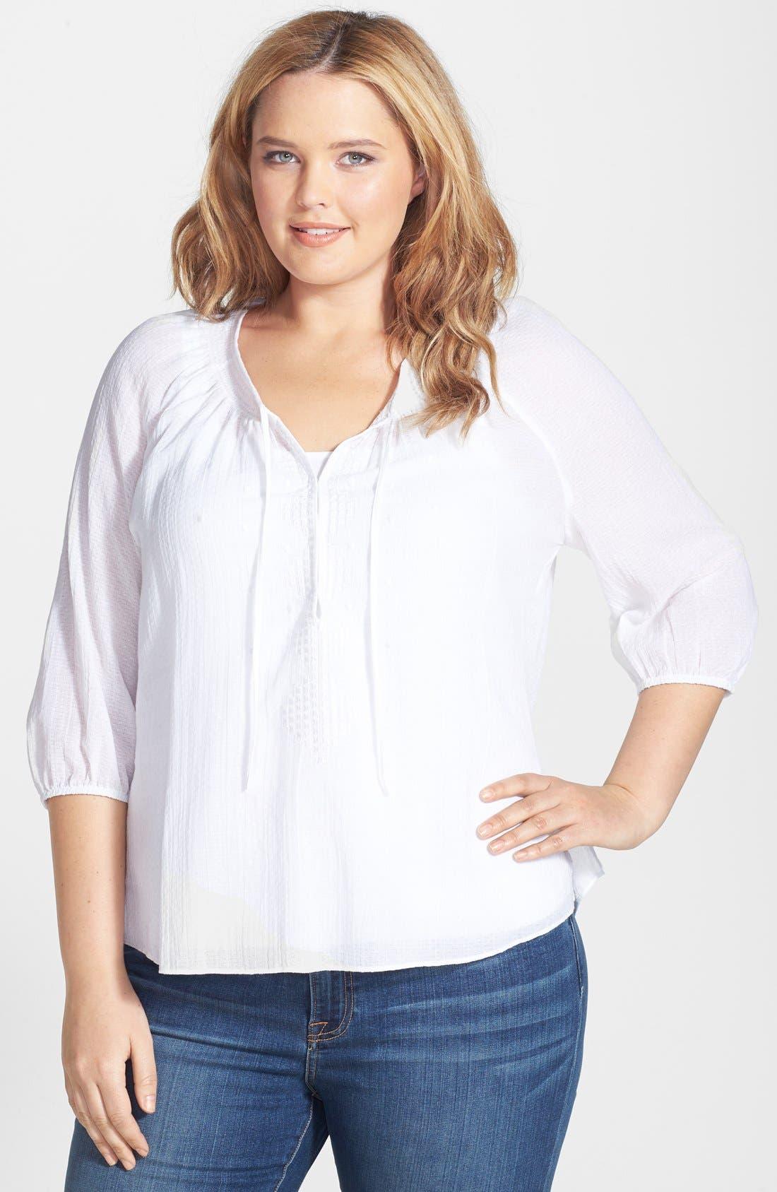 Main Image - Sejour Cotton Dobby Blouse (Plus Size)