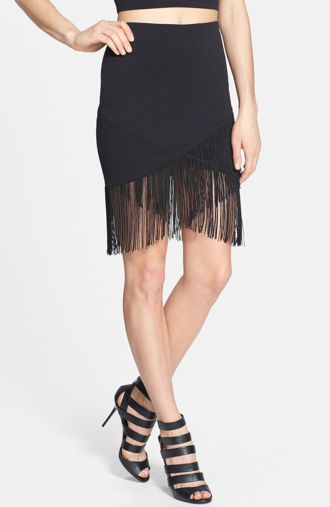 Main Image - ASTR Fringed Faux Wrap Skirt