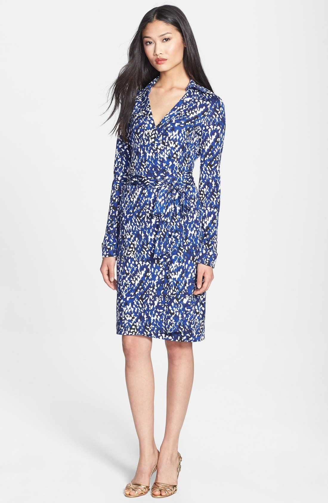 Alternate Image 1 Selected - Diane von Furstenberg 'New Jeanne Two' Print Silk Wrap Dress (Online Only)