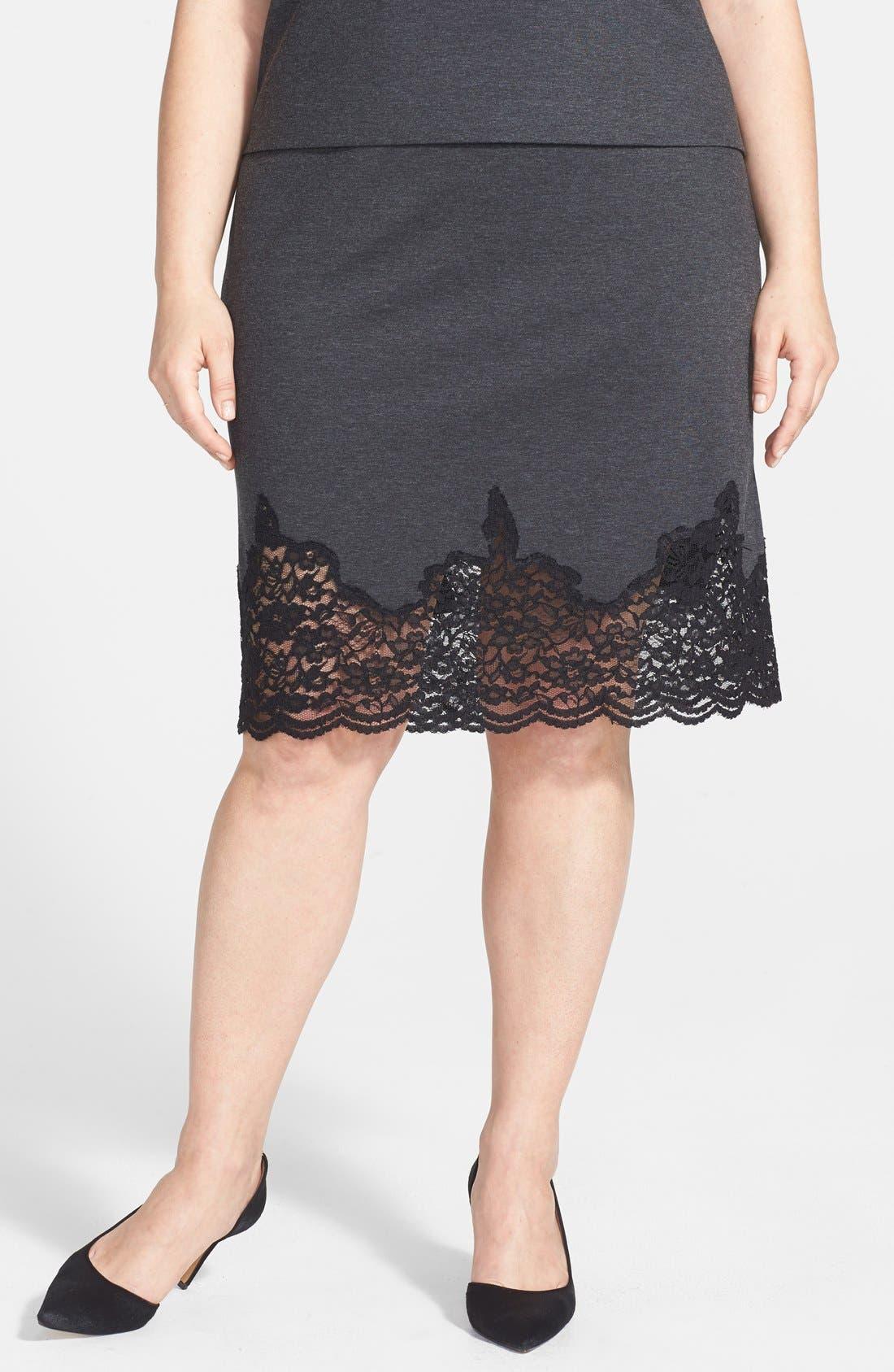 Main Image - Vince Camuto Lace Panel Pencil Skirt (Plus Size)