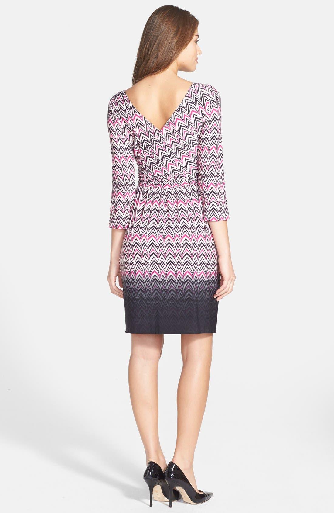 Alternate Image 2  - Maggy London Print Jersey Faux Wrap Dress