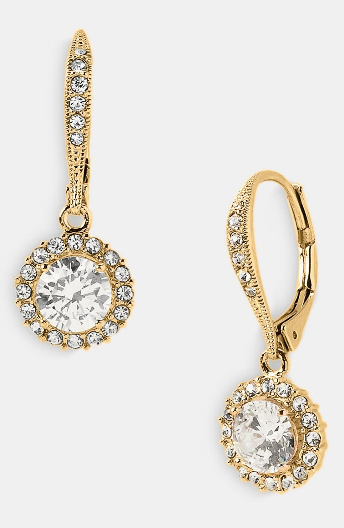 Cubic Zirconia Drop Earrings,                         Main,                         color, Gold/ Clear Crystal