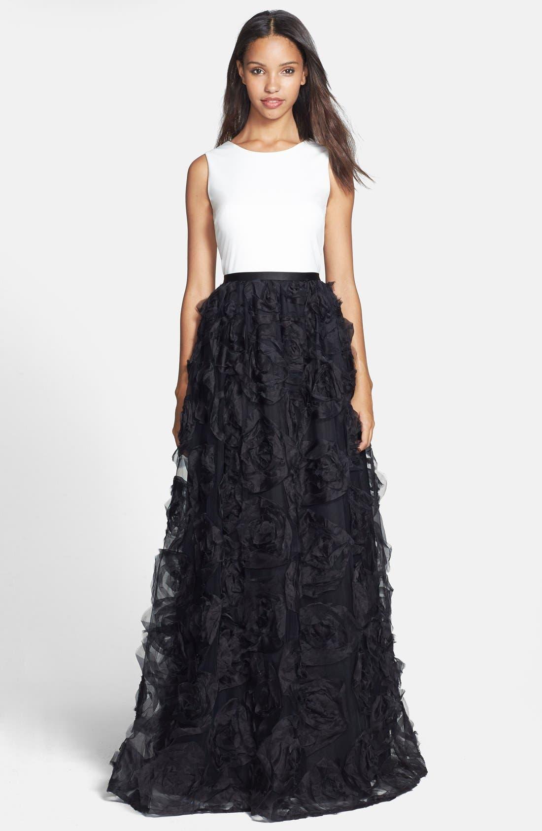 Alternate Image 1 Selected - Aidan Mattox Sleeveless Ruffle Skirt Ballgown
