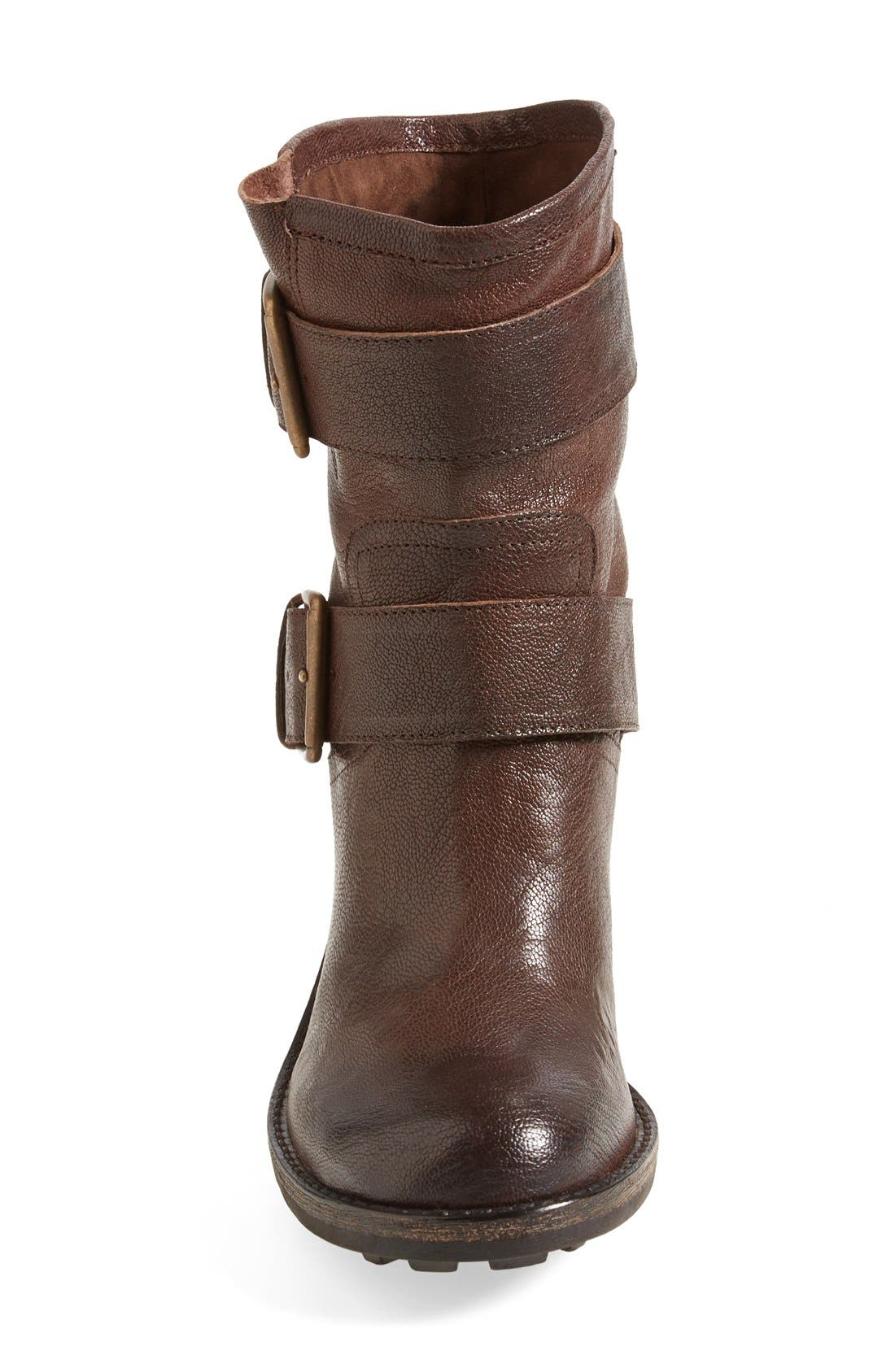 'Troy' Moto Boot,                             Alternate thumbnail 3, color,                             Dark Brown Leather