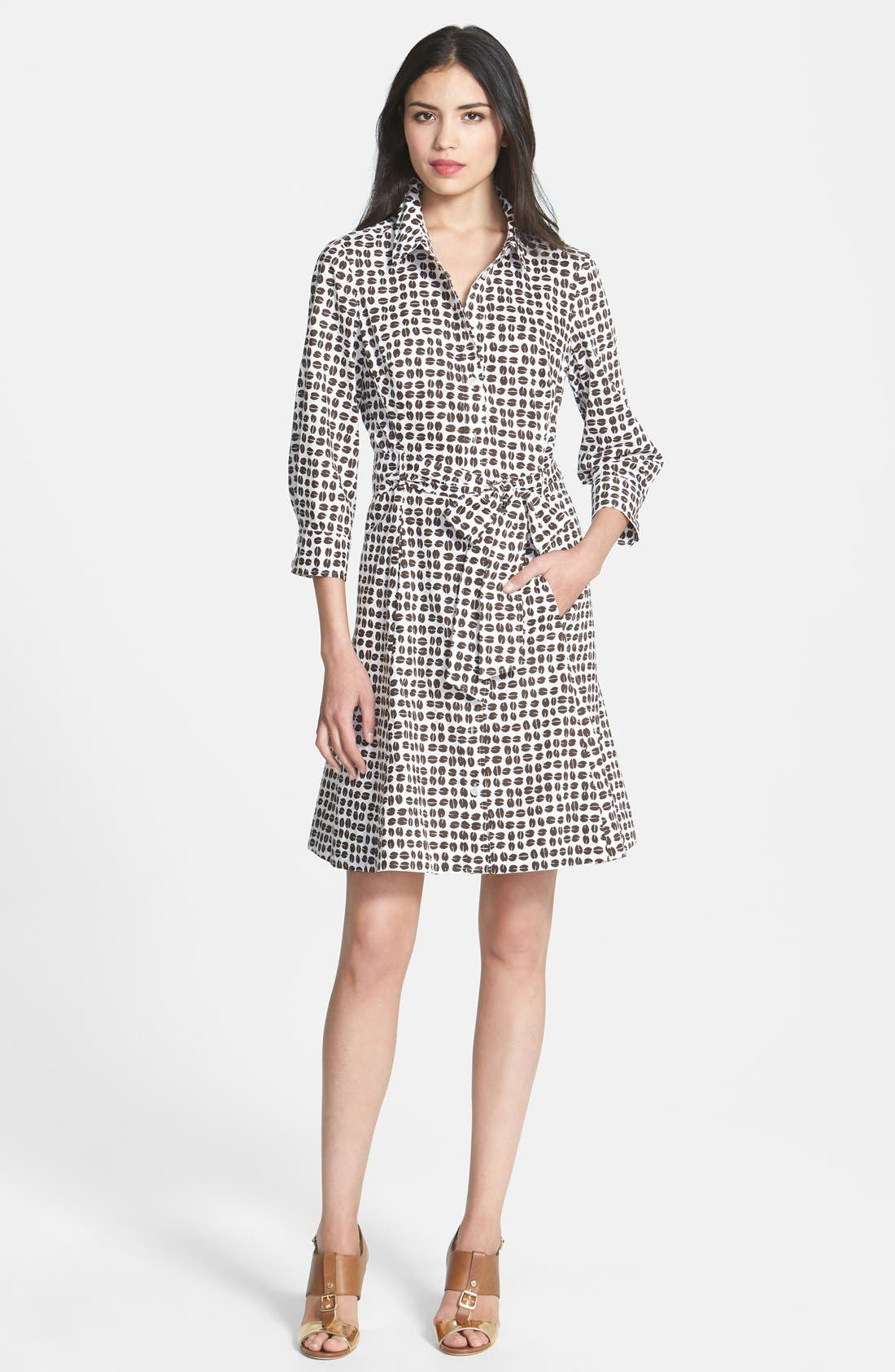 Main Image - kate spade new york 'coffee bean' print belted shirtdress