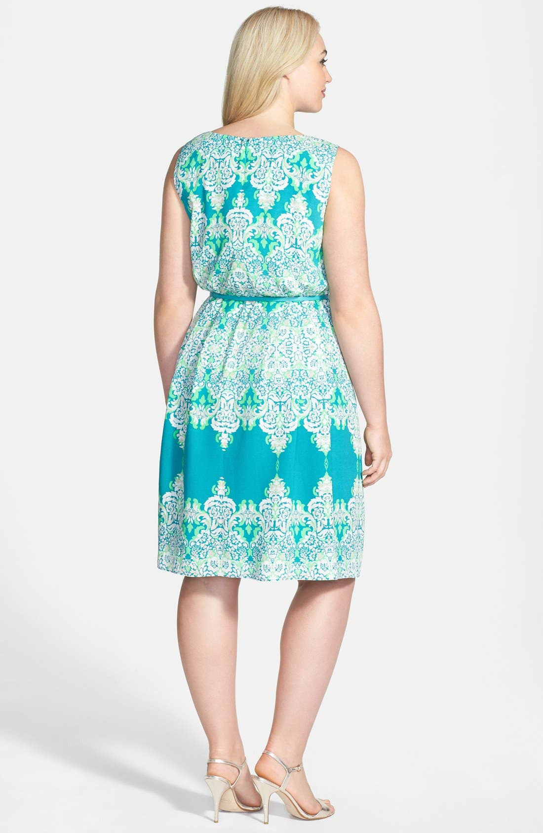 Alternate Image 2  - Adrianna Papell Print Belted Sleeveless Crêpe de Chine Dress (Plus Size)