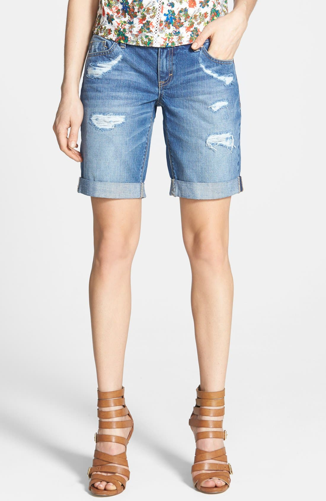 Main Image - Dittos 'Avery' Destroyed Denim Bermuda Shorts (Medium Vintage)