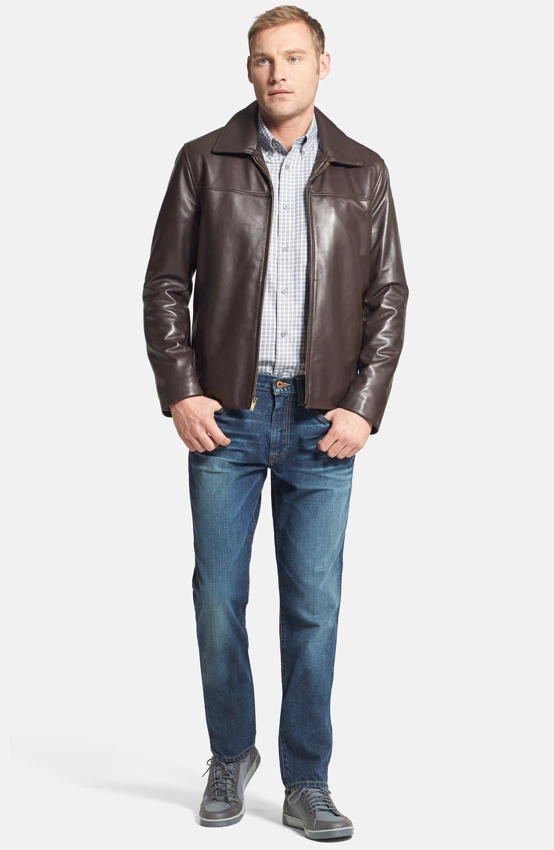 Lambskin Leather Jacket,                             Alternate thumbnail 4, color,                             Java