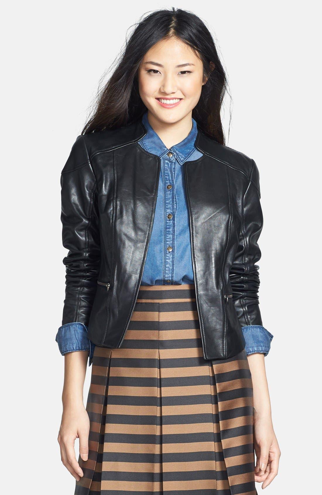 Main Image - Halogen® Zip Detail Leather Jacket