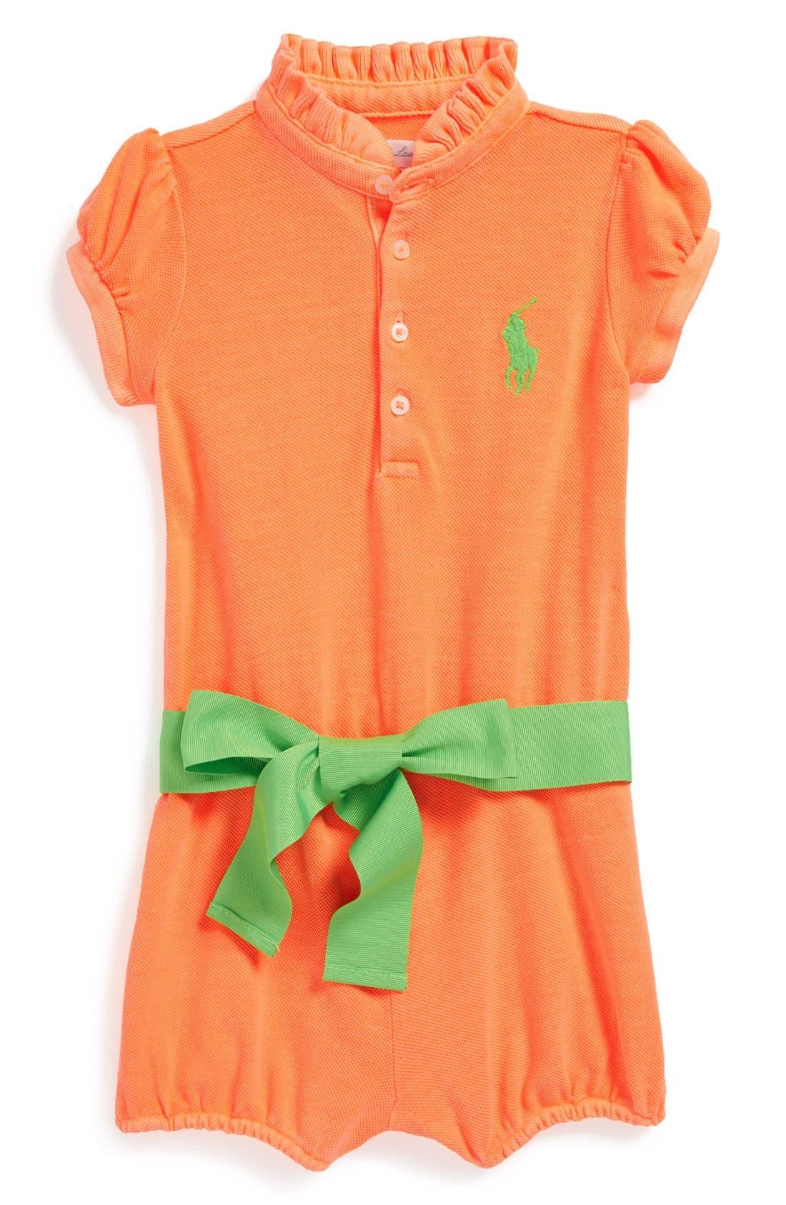 Alternate Image 1 Selected - Ralph Lauren Ruffle Collar Romper (Baby Girls)