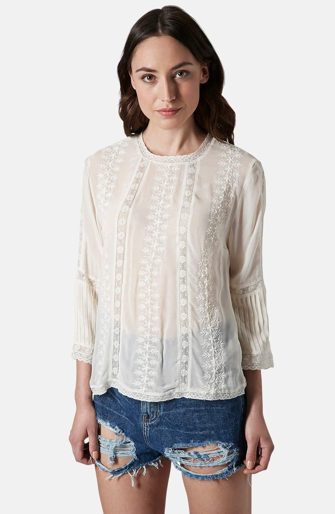 Main Image - Topshop Embroidered Blouse