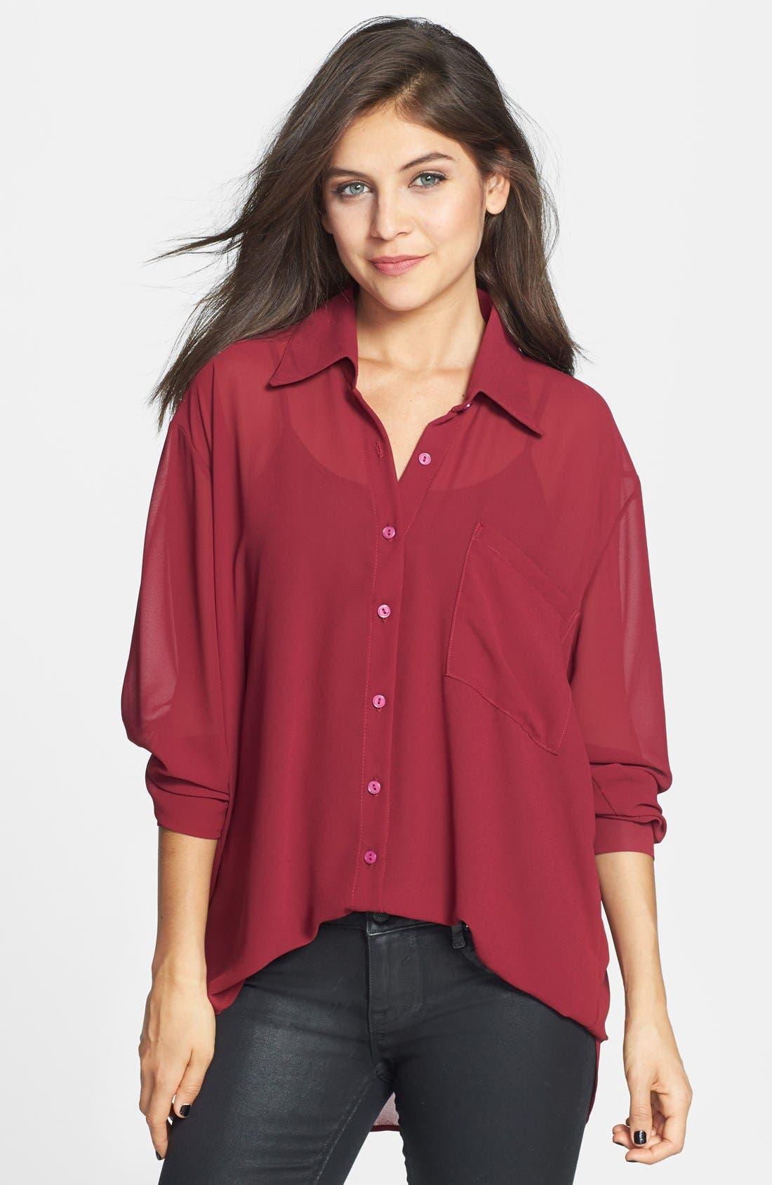 Alternate Image 1 Selected - Haute Society Chiffon Shirt (Juniors)