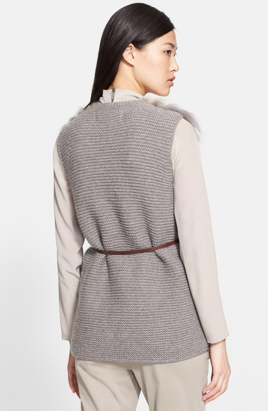 Alternate Image 2  - Fabiana Filippi Genuine Fox Fur Sweater Vest with Leather Belt