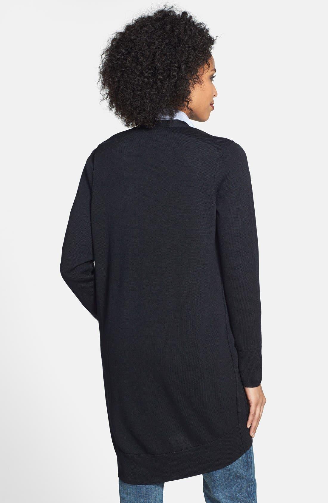 Slouchy Pocket Long Cardigan,                             Alternate thumbnail 2, color,                             Black
