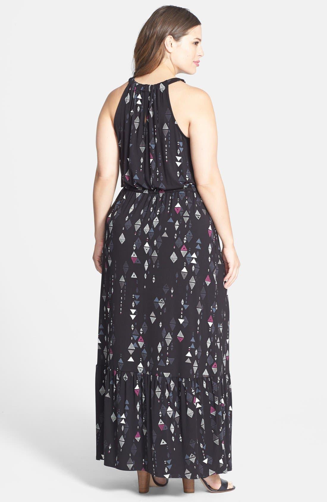 Alternate Image 2  - Sejour Cutaway Shoulder Jersey Maxi Dress (Plus Size)