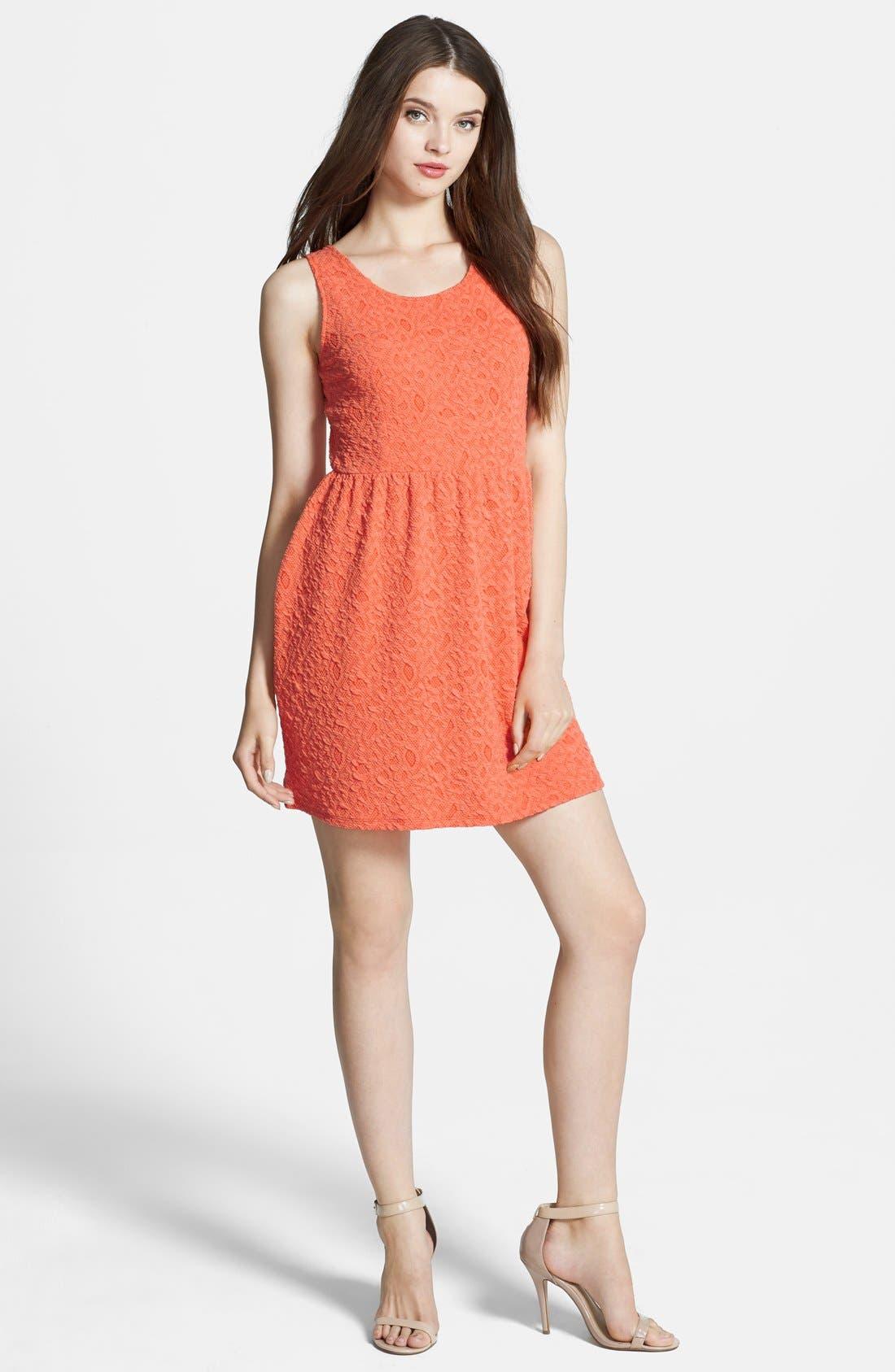 Main Image - Olive & Oak Back Cutout Textured Lace Fit & Flare Dress
