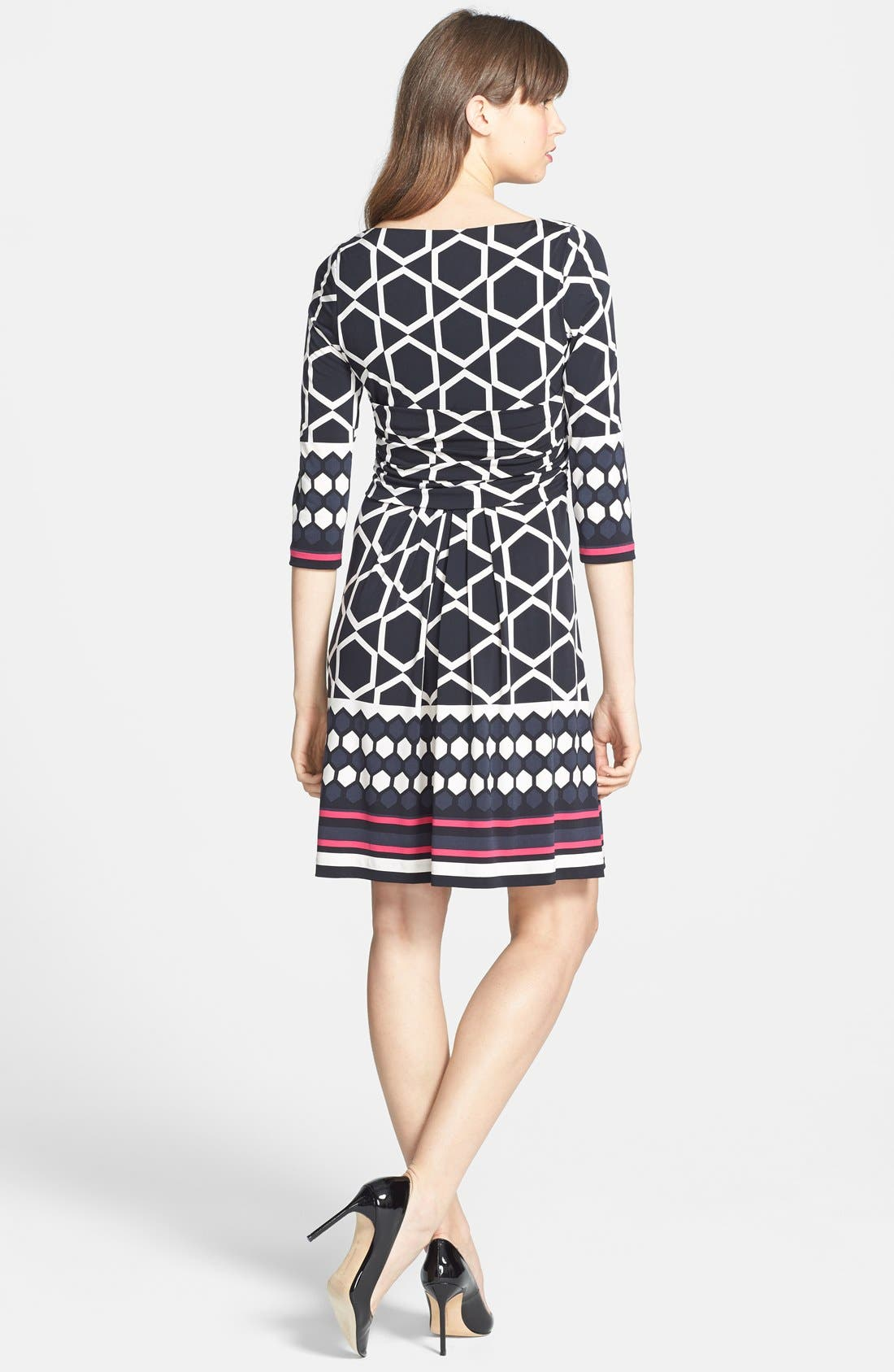 Alternate Image 2  - Eliza J Border Print Ruched Waist Fit & Flare Dress