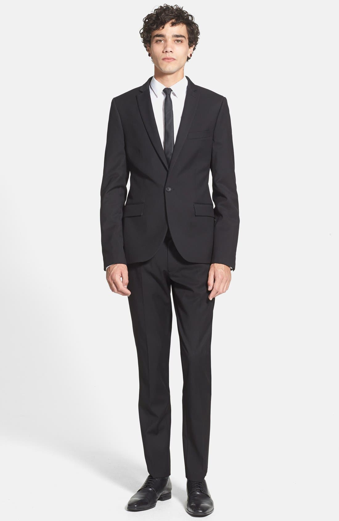 Alternate Image 5  - Topman Black Textured Skinny Fit Suit Jacket