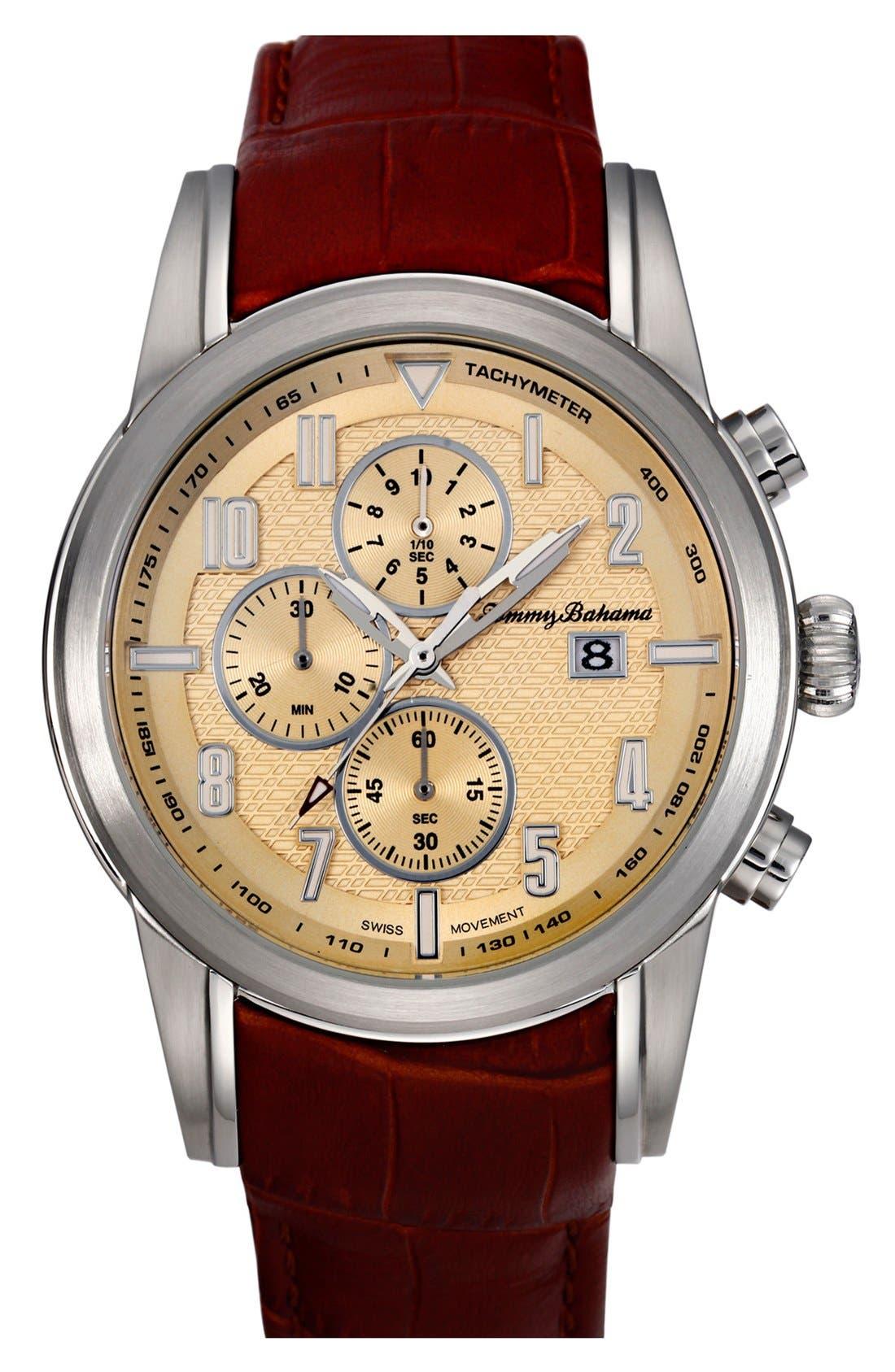 Main Image - Tommy Bahama 'Havana Pilot' Chronograph Leather Strap Watch, 44mm
