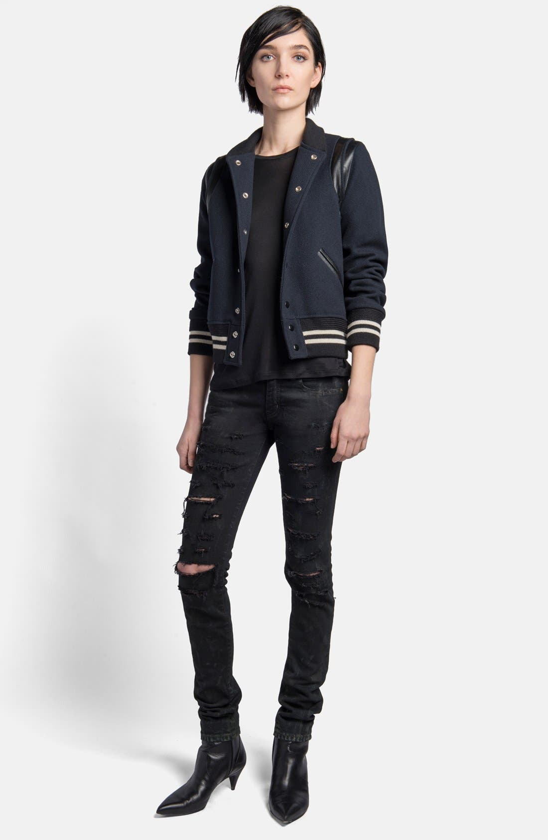 Alternate Image 3  - Saint Laurent 'Teddy' Leather Trim Bomber Jacket