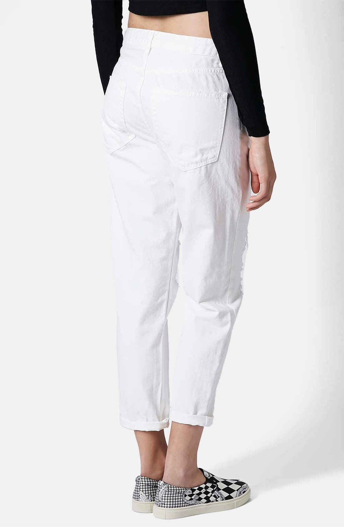 Alternate Image 2  - Topshop Moto 'Hayden' Destroyed Boyfriend Jeans (White)