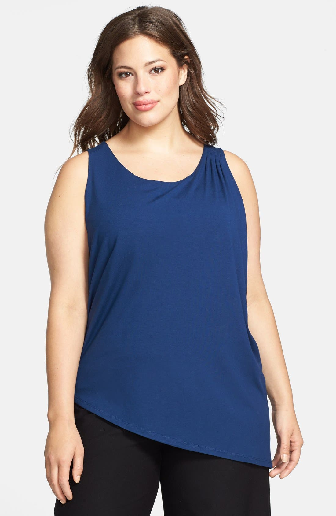 Main Image - Eileen Fisher Scoop Neck Asymmetric Shell (Plus Size) (Online Only)