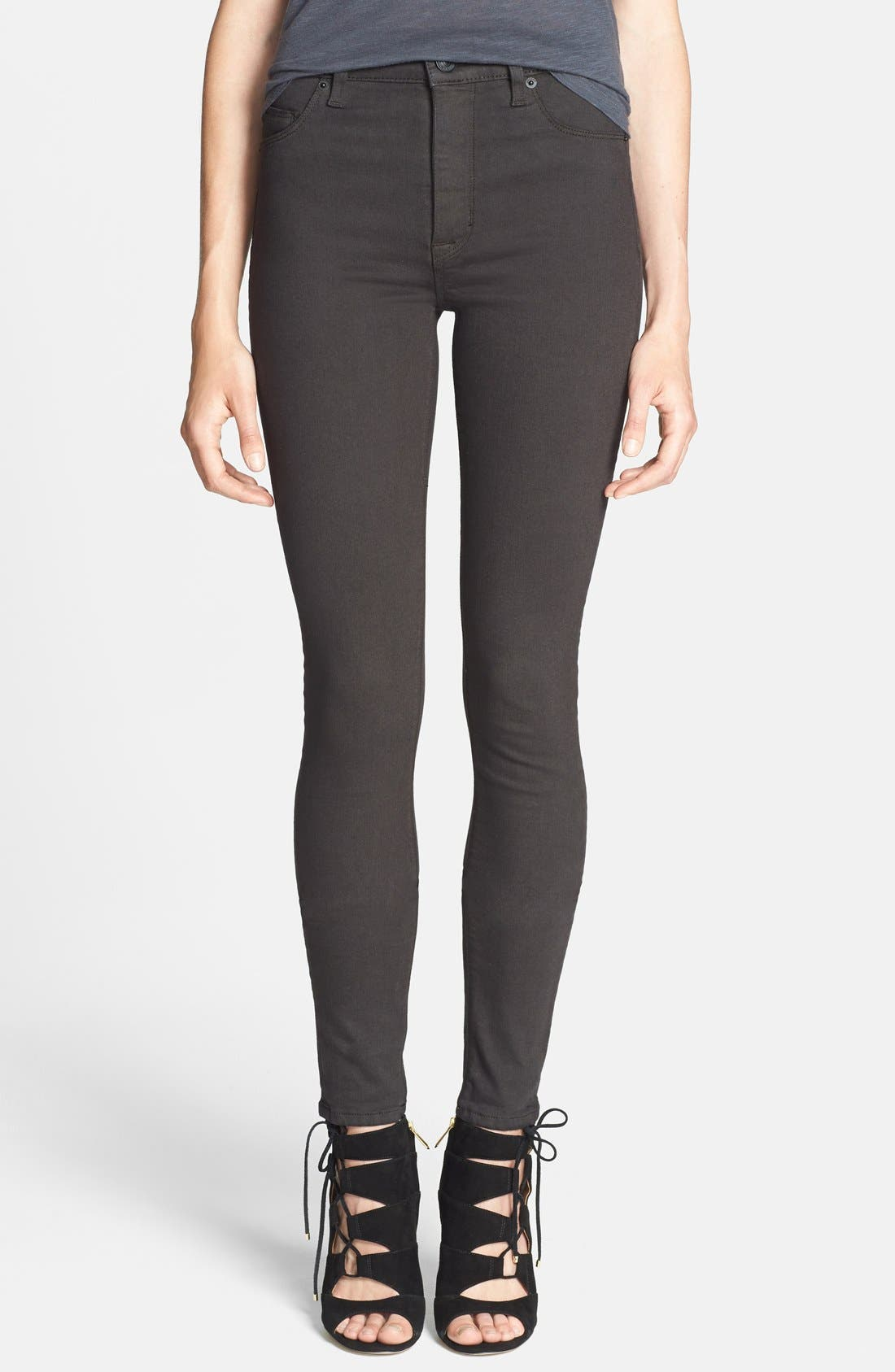 Alternate Image 1 Selected - Hudson Jeans 'Barbara' High Rise Skinny Jeans (Brown) (Nordstrom Exclusive)