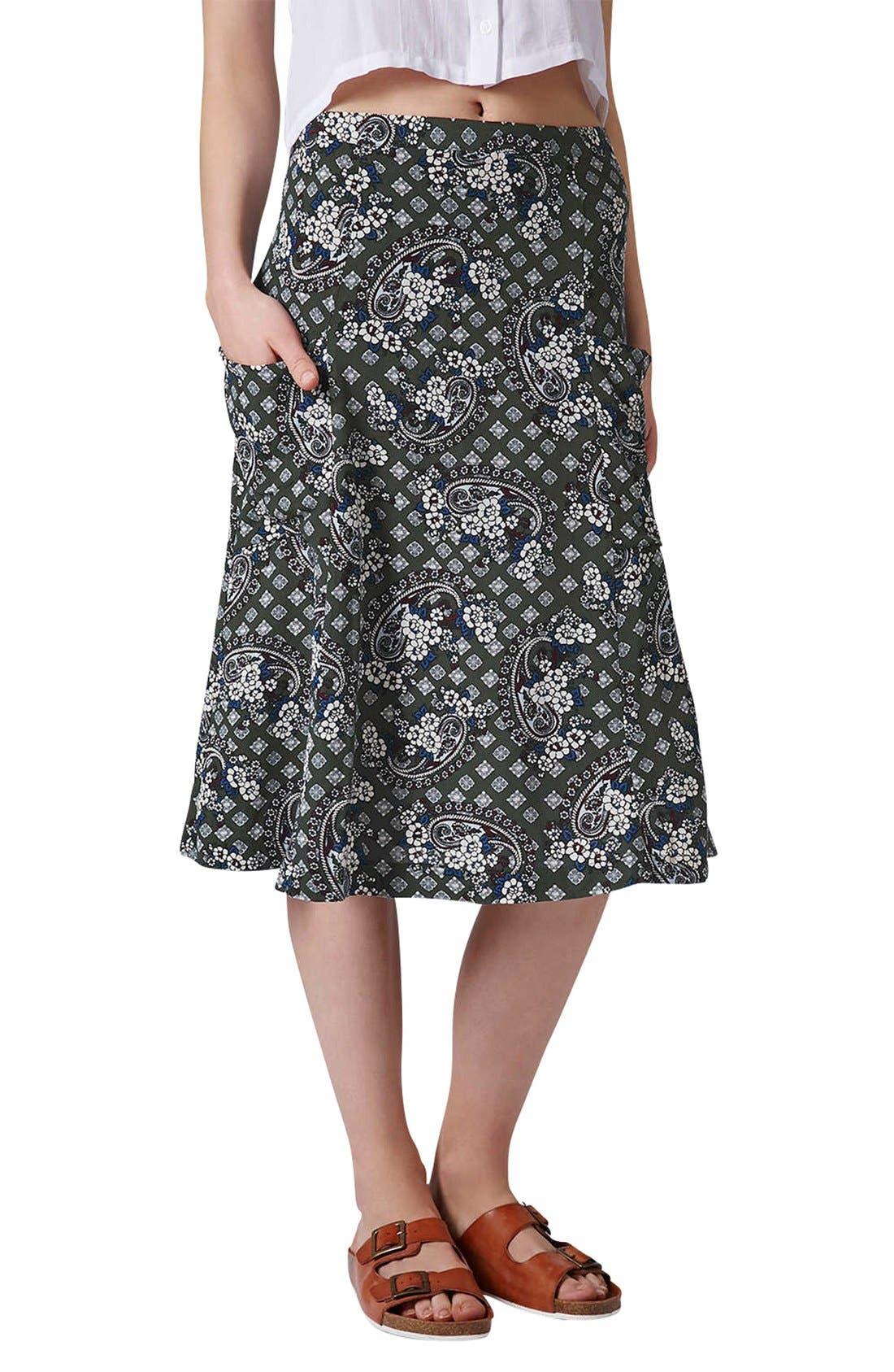 Main Image - Topshop Tile Print Midi Skirt