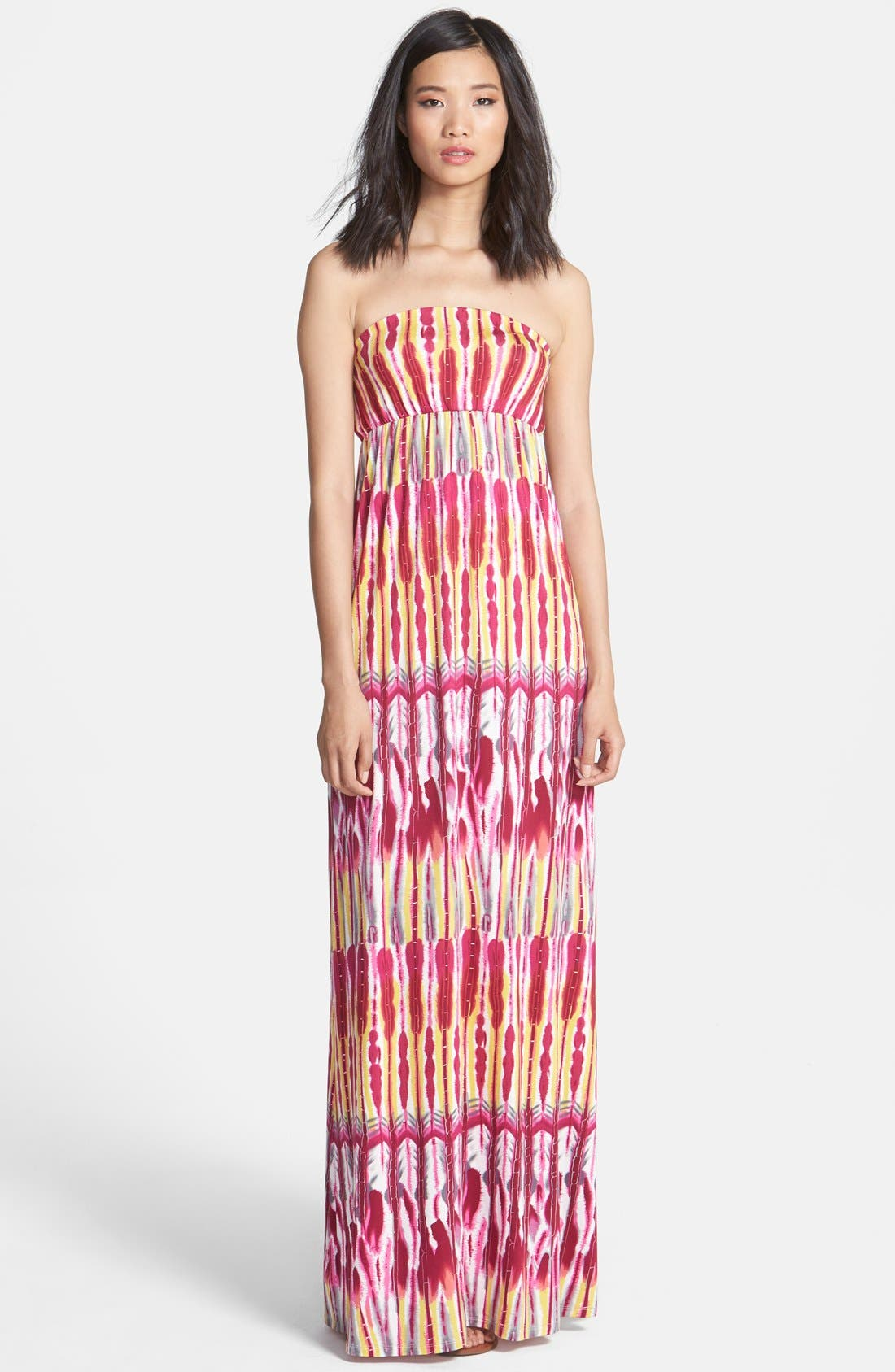 Main Image - Felicity & Coco Print Strapless Jersey Maxi Dress (Nordstrom Exclusive)