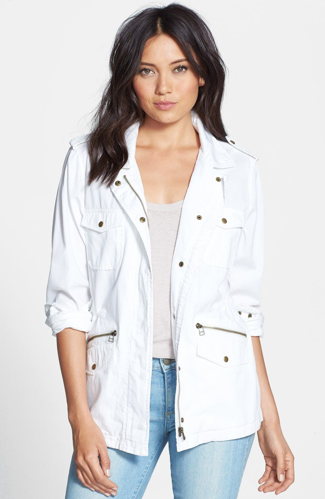 Lily Aldridge for Velvet by Graham & Spencer Army Jacket,                             Main thumbnail 1, color,                             White