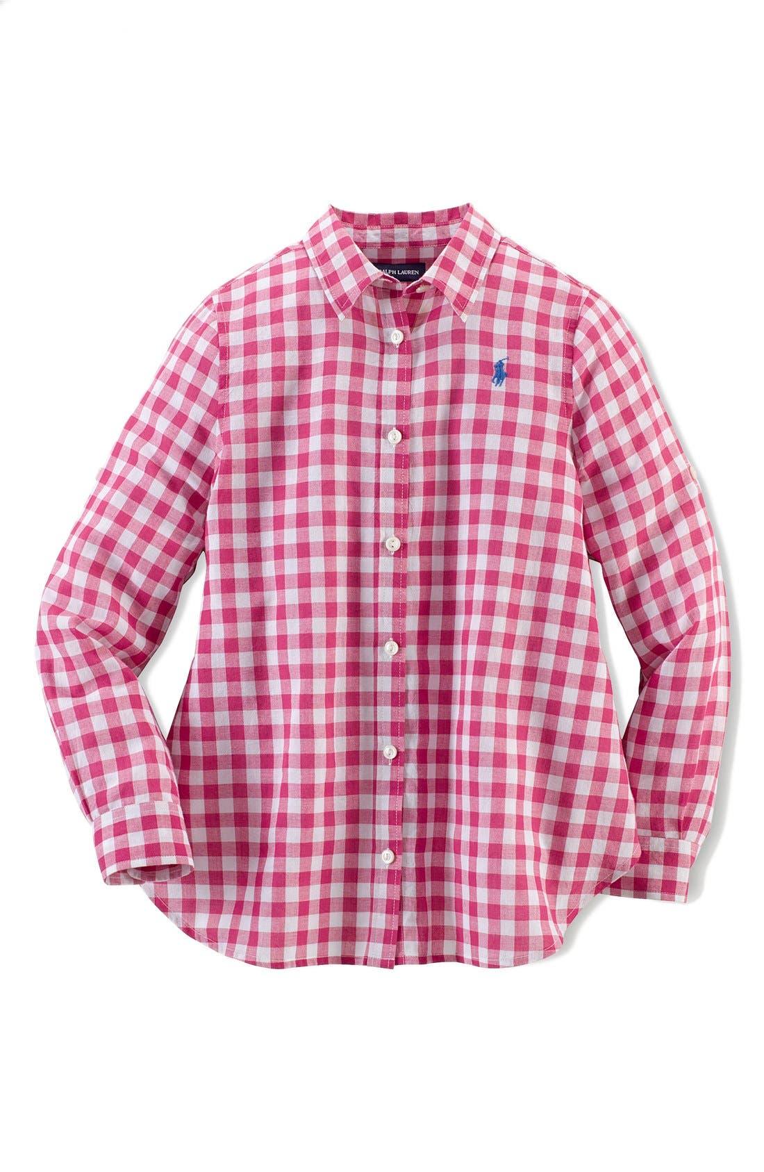 Alternate Image 1 Selected - Ralph Lauren Gingham Cotton Gauze Shirt (Big Girls)