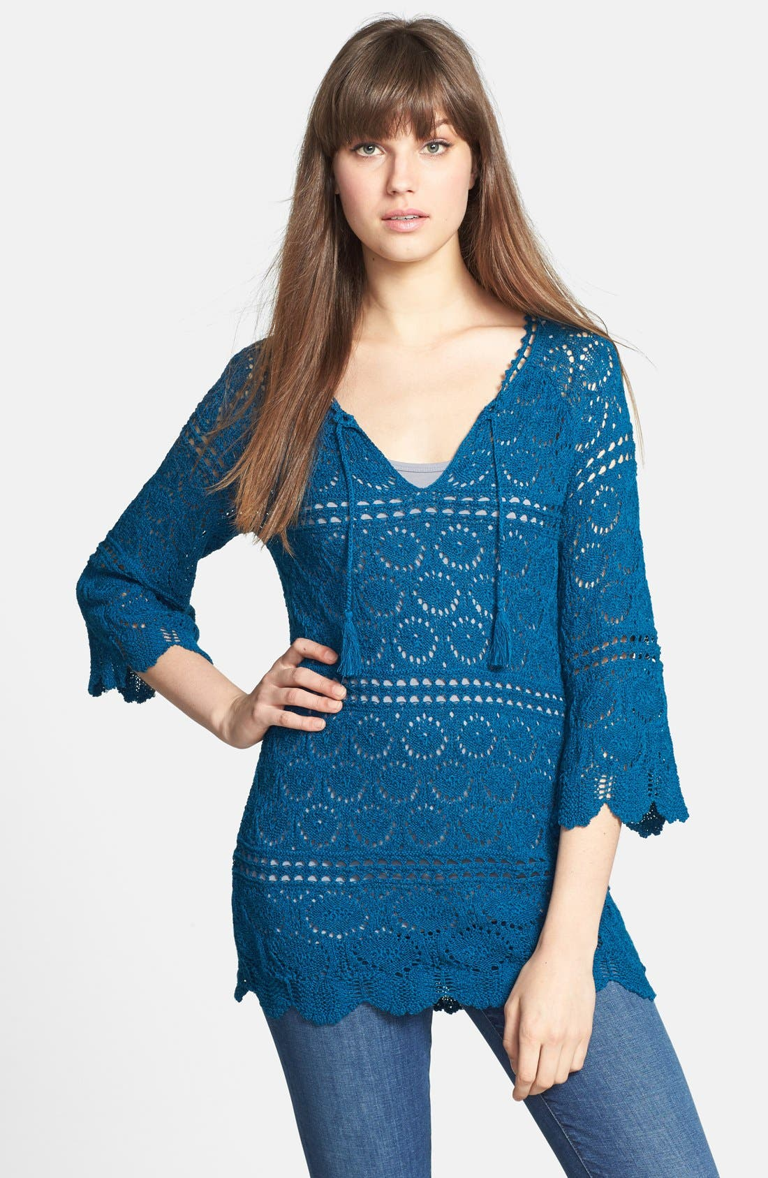 Alternate Image 1 Selected - Lucky Brand 'Sapphire' Crochet Tunic