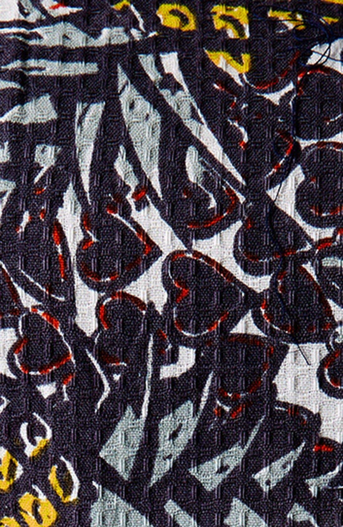 Pineapple Print Cutout Fit & Flare Dress,                             Alternate thumbnail 4, color,                             Yellow Multi