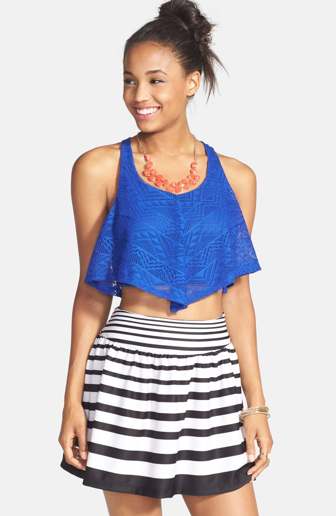 Alternate Image 1 Selected - PPLA Button Back Stripe Skirt (Juniors)