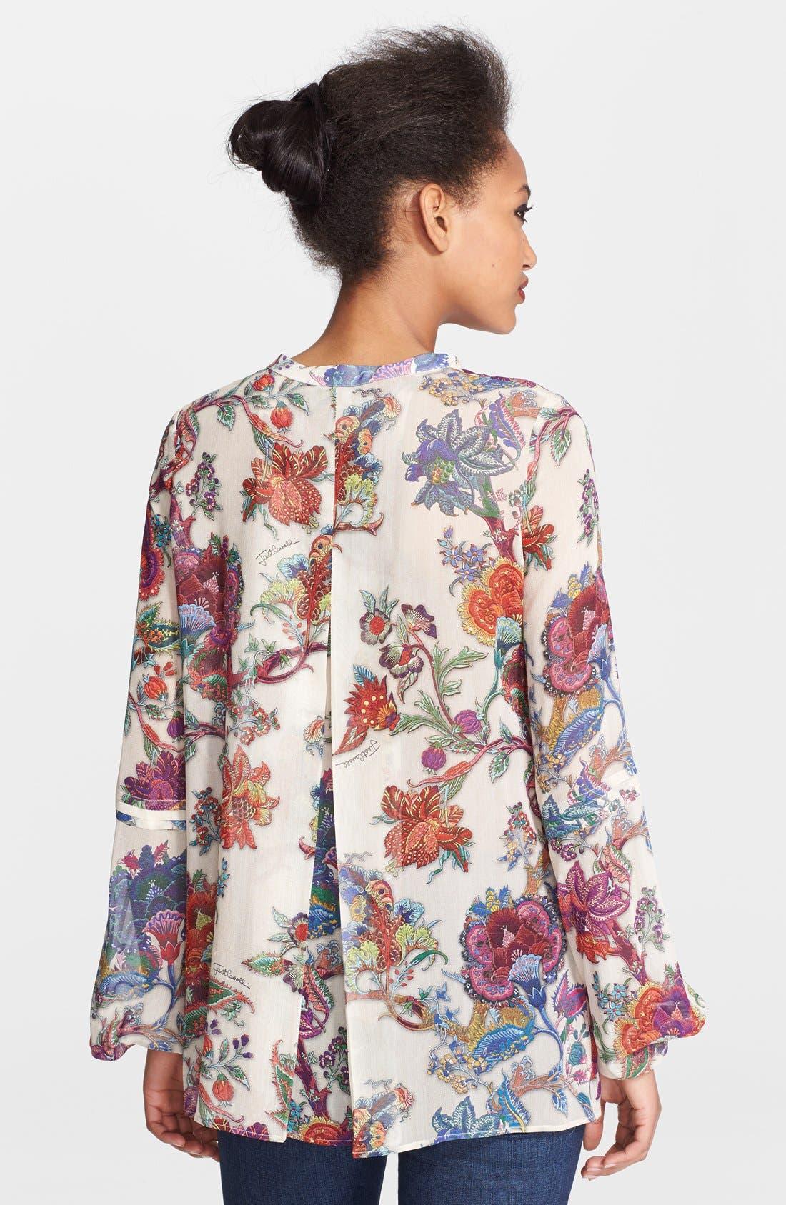 Alternate Image 2  - Just Cavalli Floral Print Silk Blouse