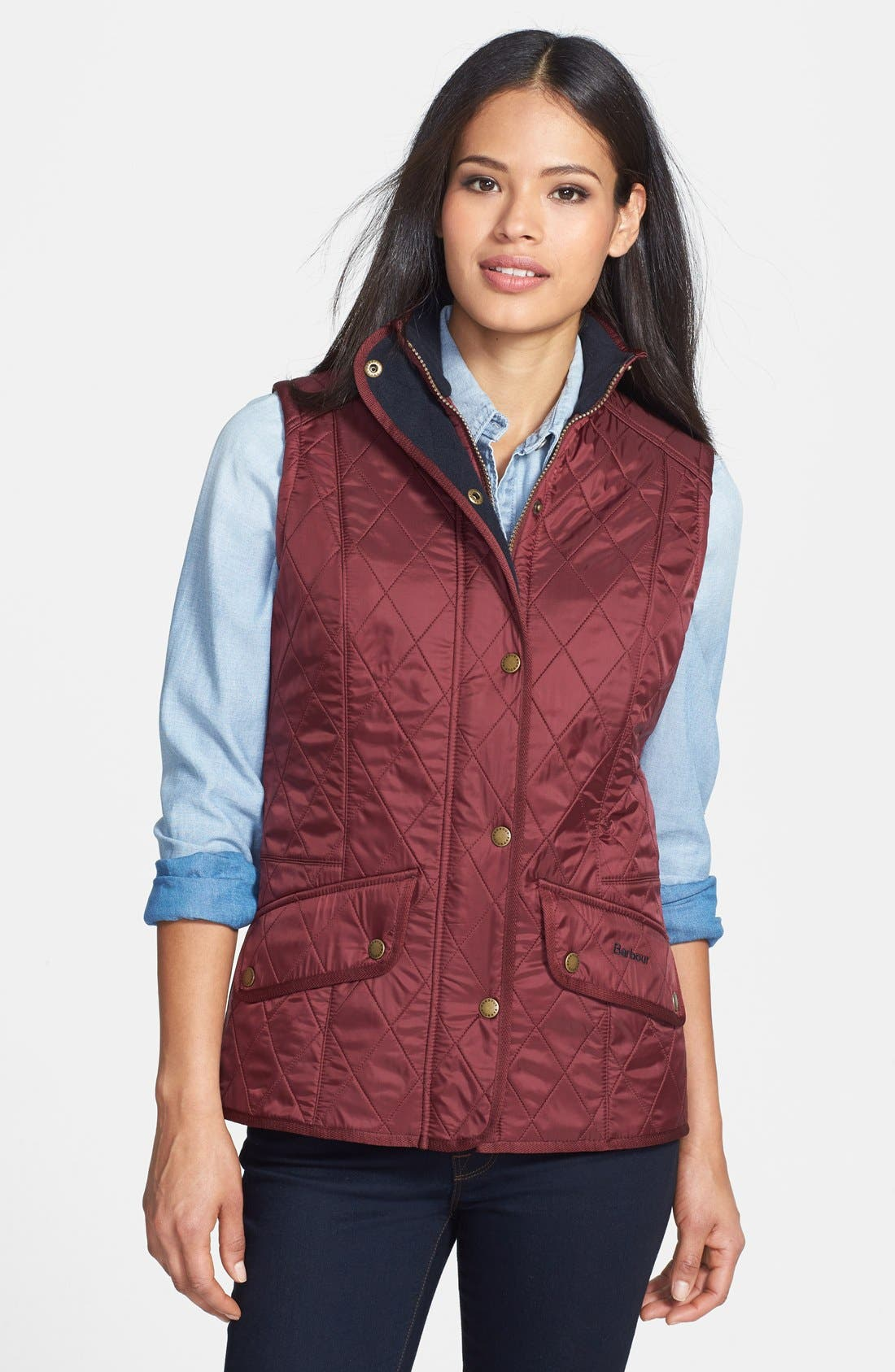 'Cavalry' Quilted Vest,                         Main,                         color, Rosewood/ Navy