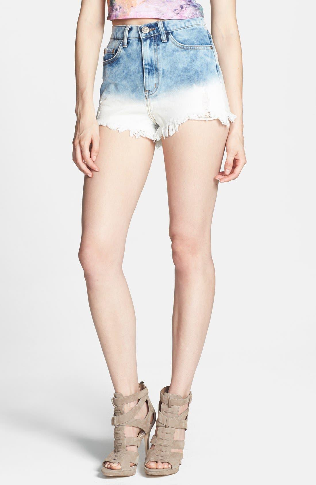 Main Image - Glamorous High Rise Cutoff Denim Shorts (Blue Dip Dye)