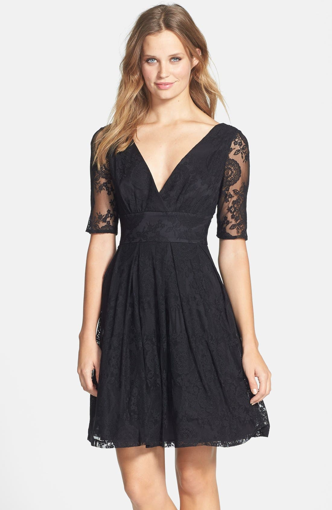 Main Image - Betsey Johnson V-Neck Lace Fit & Flare Dress