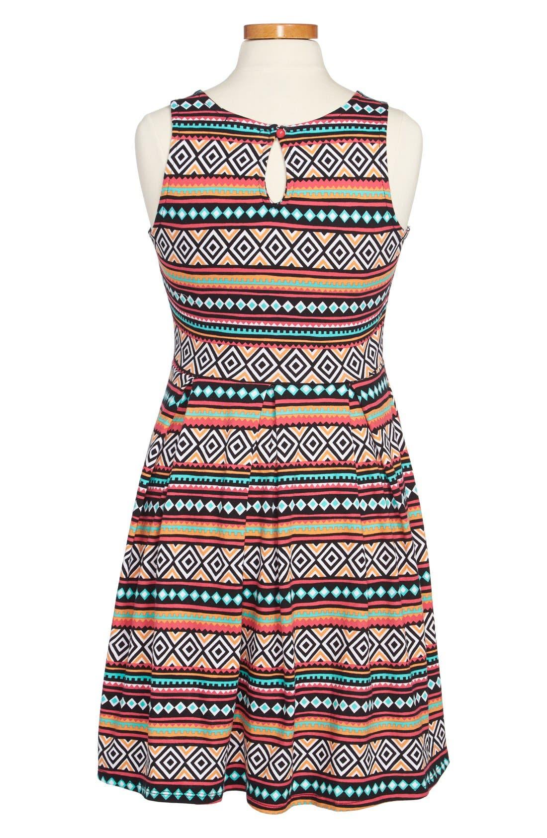 Alternate Image 2  - Soprano Chevron Print Skater Dress (Big Girls)