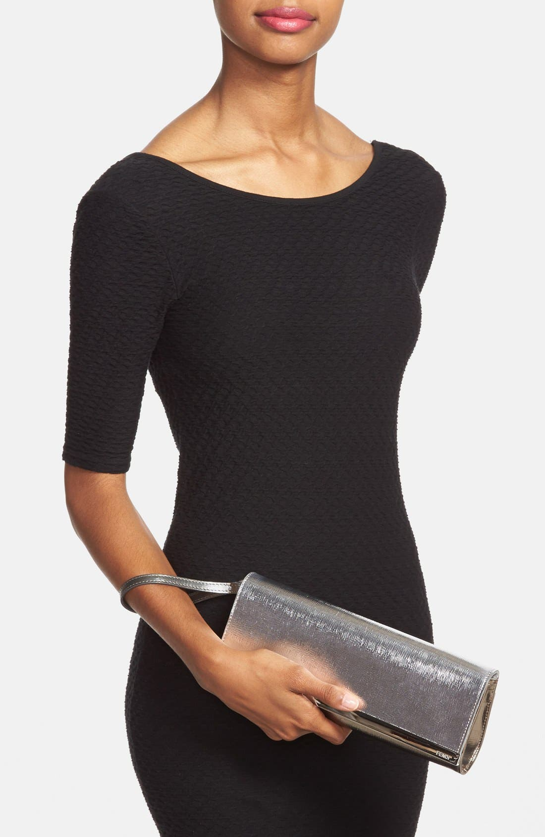 Alternate Image 2  - Fendi 'Vernice Bicolor Rush' Metallic Leather Pochette Clutch