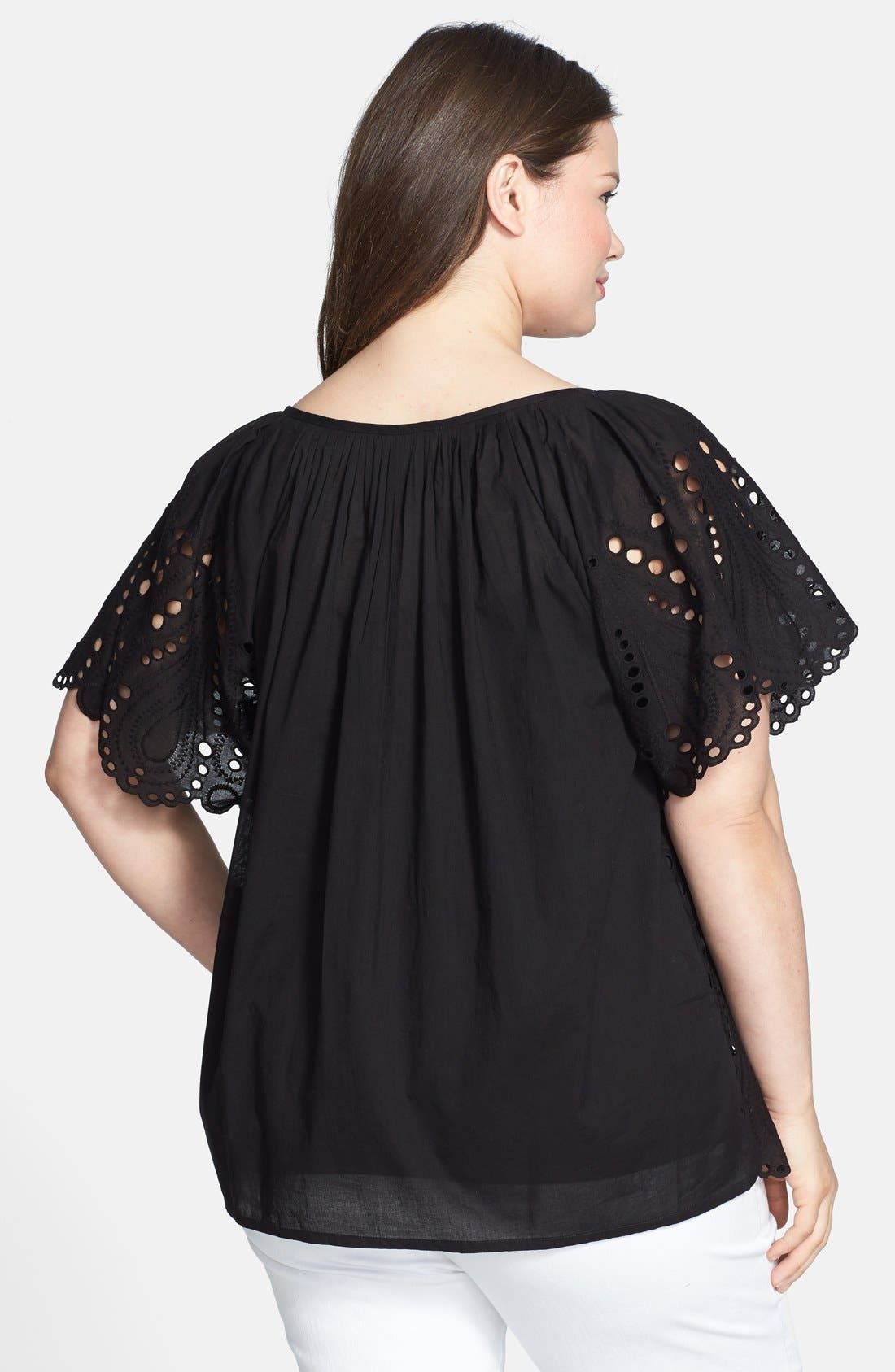 Alternate Image 2  - MICHAEL Michael Kors Tie Front Eyelet Cotton Peasant Top (Plus Size)
