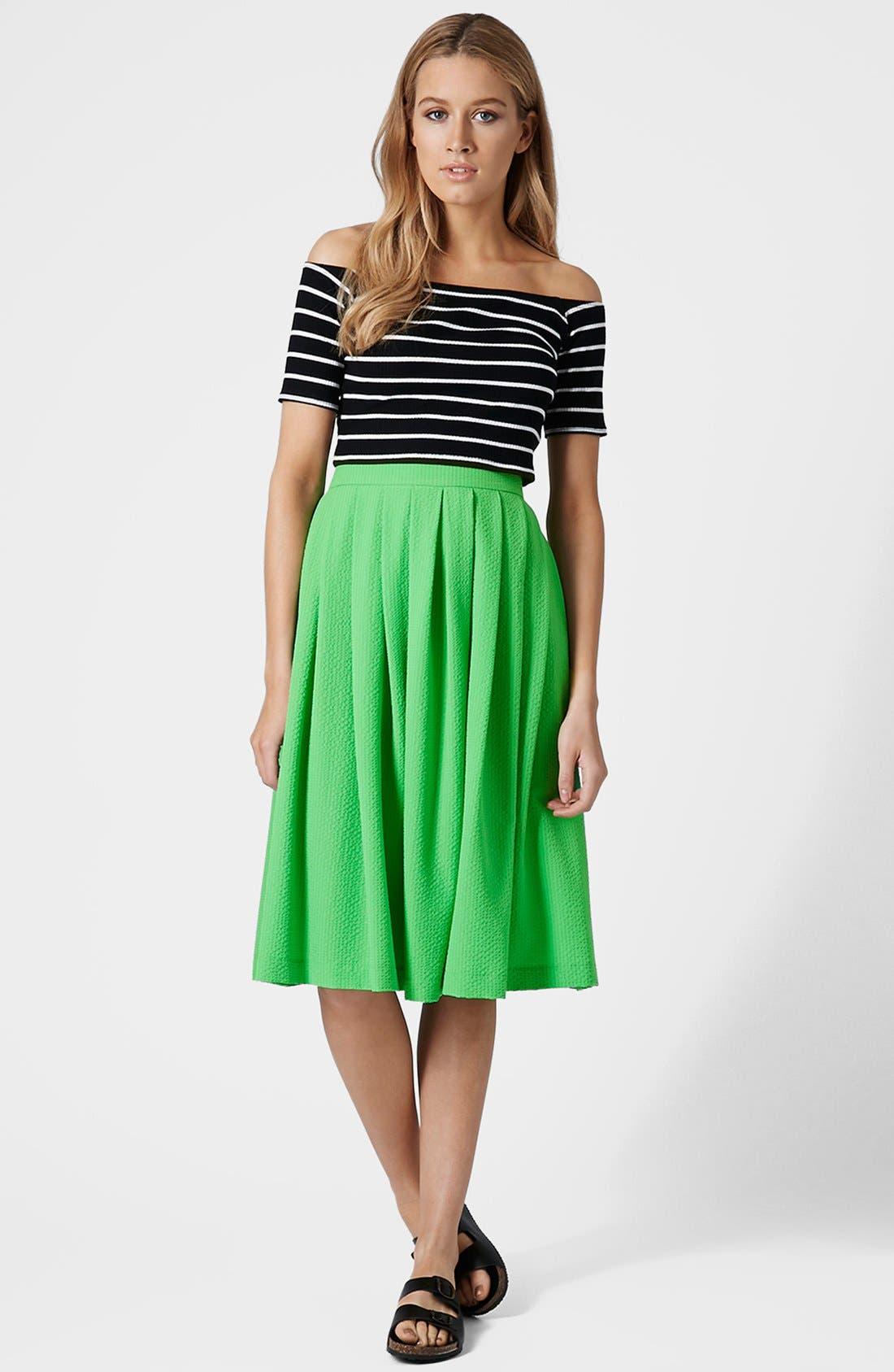 Alternate Image 5  - Topshop Stripe Rib Knit Bardot Crop Top