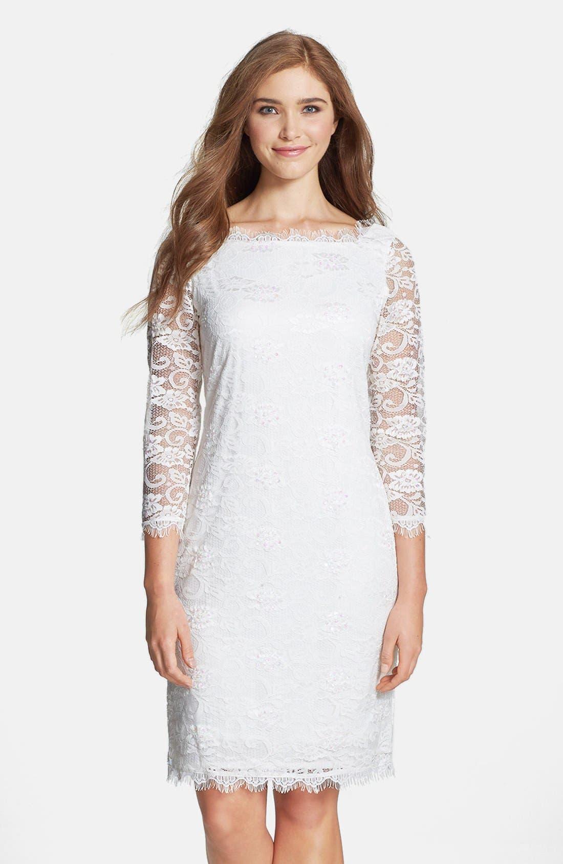 Main Image - Marina Embellished Lace Sheath Dress