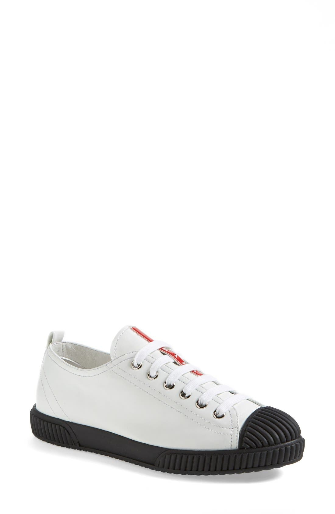 Alternate Image 1 Selected - Prada Cap Toe Sneaker (Women)