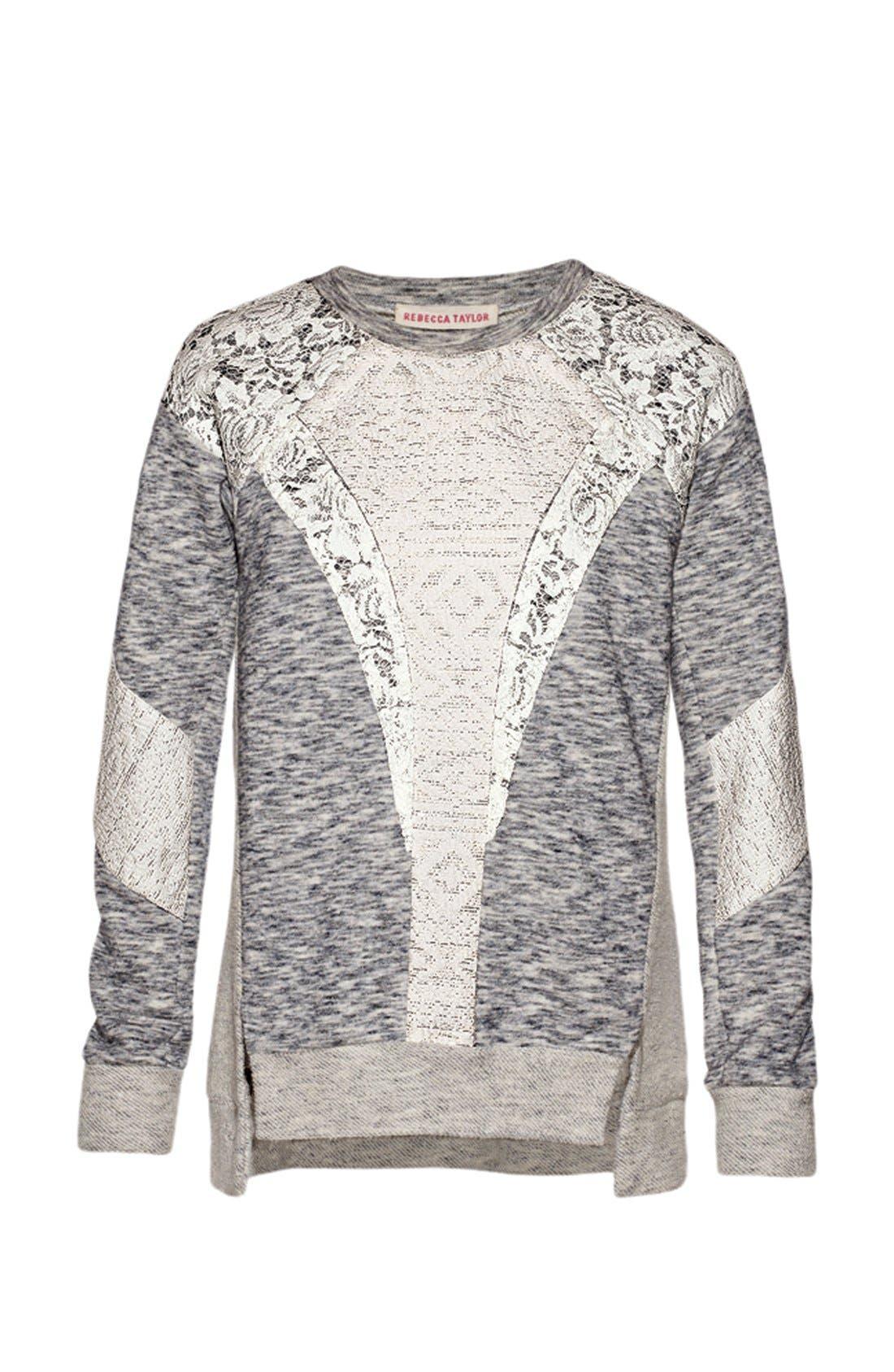 Alternate Image 5  - Rebecca Taylor Lace Insert Sweatshirt