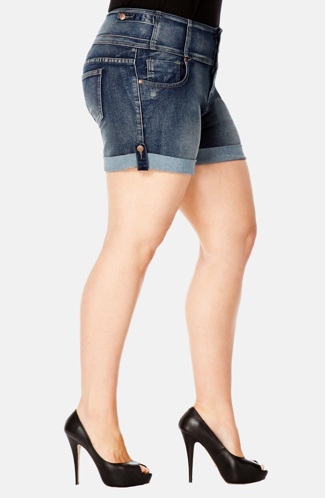 Alternate Image 3  - City Chic High Waist Stretch Denim Shorts (Dark) (Plus Size)