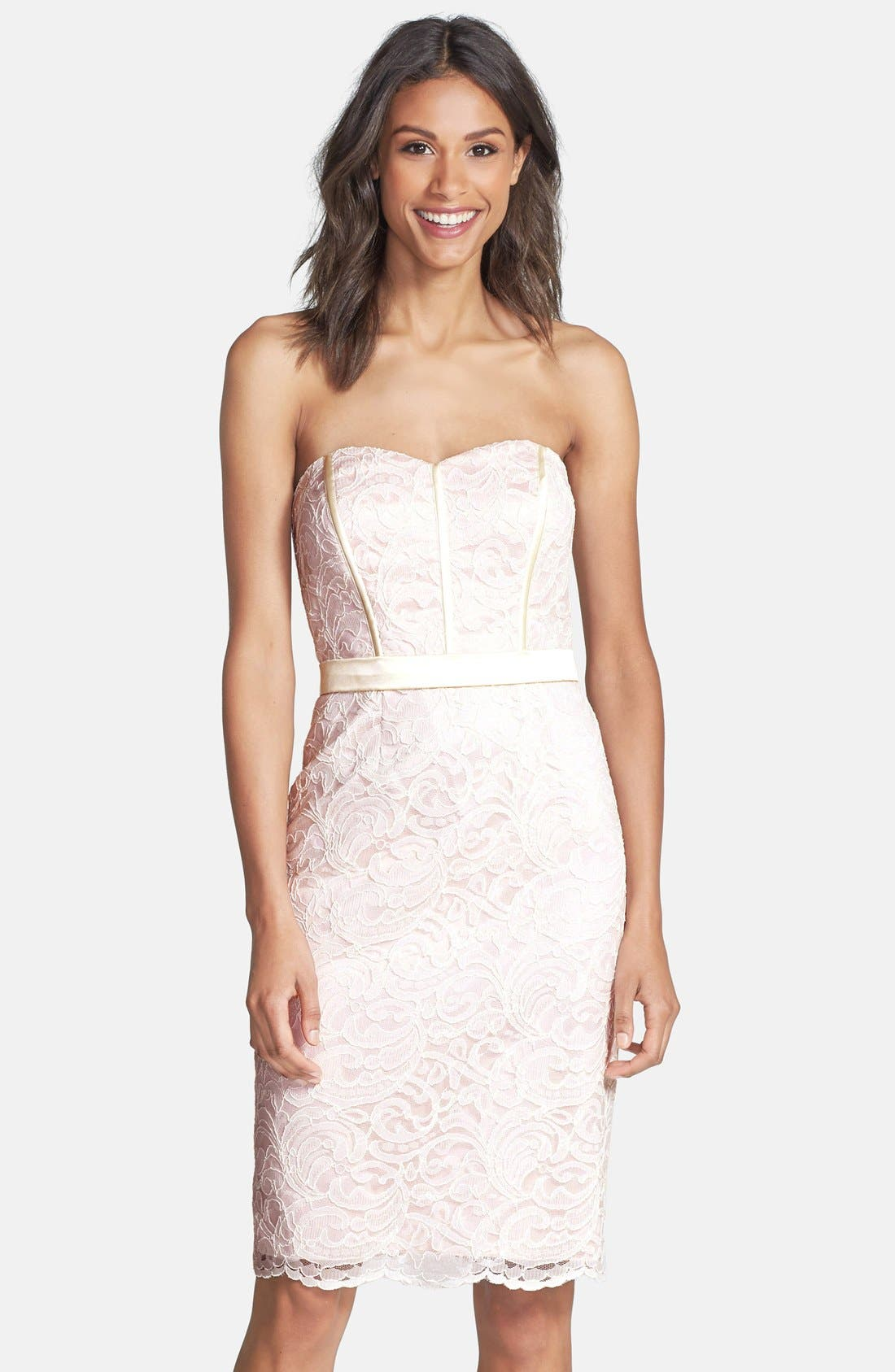 Strapless Lace Overlay Matte Satin Dress,                             Main thumbnail 1, color,                             Ivory/ Blush