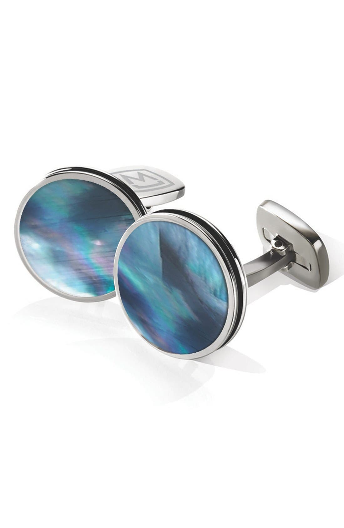Stainless Steel Cuff Links,                             Main thumbnail 1, color,                             Stainless Steel/ Pearl