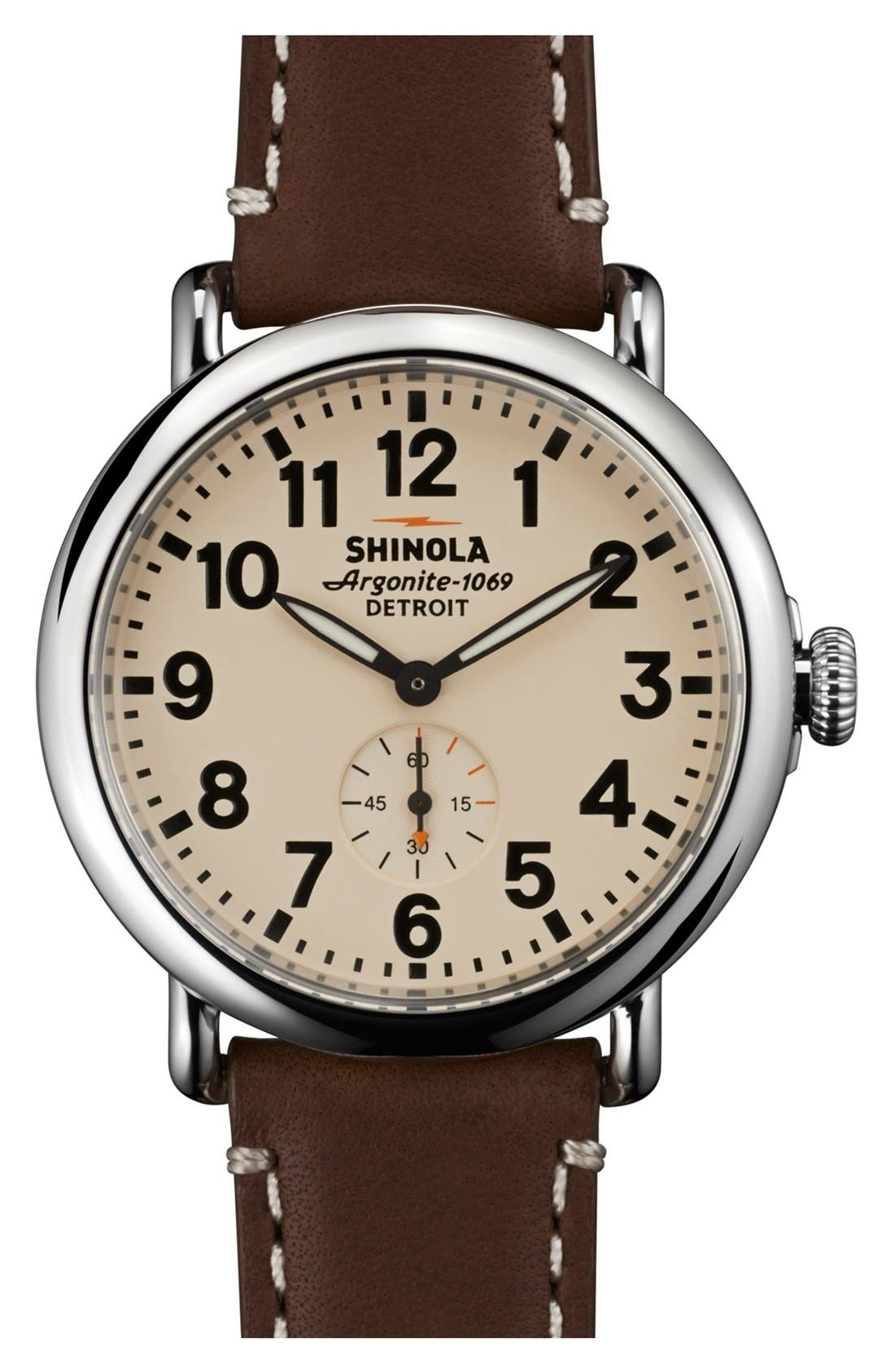 'The Runwell' Leather Strap Watch, 41mm,                             Main thumbnail 1, color,                             Dark Coffee/ Cream